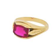 Vintage Art Deco Engraved Foliage Ring Vintage 14k Gold Lab Ruby Estate 9.25