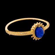 Vintage Etruscan Revival 15ct Gold Bangle Bracelet with Spinning Lapis Scarab