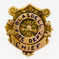 RARE Vintage Obsolete Blasdell, NY Volunteer Fire Dept. Chief 14K Gold Badge Pin