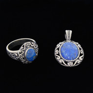 Carolyn Pollack Lot Sterling Silver Lapis Ring Pendent For Necklace Set Size 10