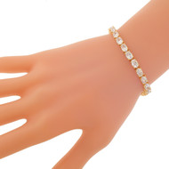 925 Sterling Silver Gold overlay CZ Cubic Zirconia Tennis Bracelet 7.5 Inches