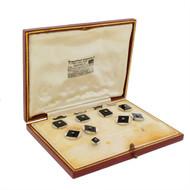 Garrard's Diamond Onyx 9k White Gold Cufflink Stud Set w Buttons Original Box