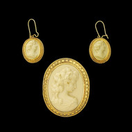 Etruscan Revival Victorian 14k Gold Lava Cameo Brooch and Earrings circa 1875