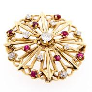 Vintage 14K Gold Synthetic Rubies & 0.94CT Diamonds Circle Brooch