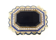 Victorian Gold Enamel, Pearl, and Onyx Memorial / Mourning Brooch circa 1870