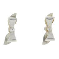 Vintage Retro Modernist Sterling Silver Ribbon Bow Screw Back Earrings
