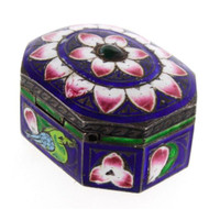 Unusual Indo-china Enamel Decorated Octagonal Silver Box