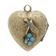 Victorian Gold Heart Pendant Locket with Turquoise & Pearls Dated 25 Dec. 1859