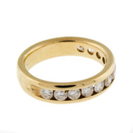 14k Yellow Gold Band ring with 1.0ct TW of Channel Set Diamonds