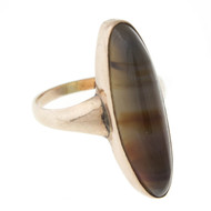 Victorian Banded Agate Ladies 9k Rose Gold