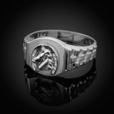925 Sterling Silver Lucky Horseshoe Mens Ring