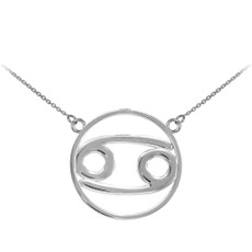 925 Sterling Silver Cancer Zodiac Sign Necklace