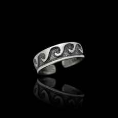 Sterling Silver Solid Waves Toe Ring