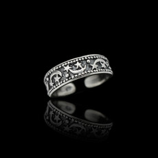 Sterling Silver Night Stars and Crescent Moon Toe Ring