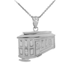 925 Sterling Silver San Francisco Cable Car Pendant Necklace