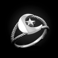 Sterling Silver Crescent Moon Dainty Islamic Ring
