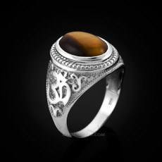 Sterling Silver Om Oval Cabochon Tiger Eye Gemstone Mens Yoga Ring