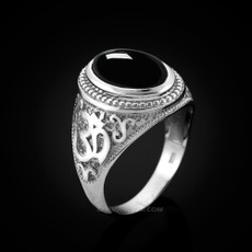 Sterling Silver Om Oval Cabochon Black Onyx Mens Yoga Ring