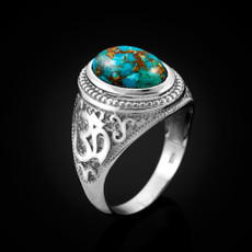 Silver Om with Blue Copper Turquoise