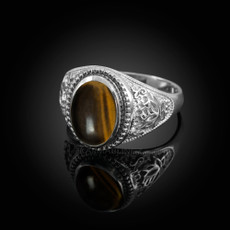 Sterling Silver Lotus Tiger Eye Yoga Statement Ring