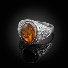Sterling Silver Lotus Amber Yoga Statement Ring