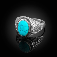 Sterling Silver Turquoise Cabochon Yoga Lotus Ring
