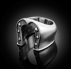 Solid Sterling Silver Mens Horseshoe Lucky Ring