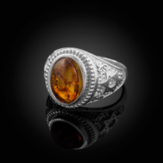 Sterling Silver Star of David Amber Jewish Statement Ring