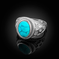 Sterling Silver Star of David Turquoise Cabochon Jewish Statement Ring
