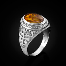 Sterling Silver Jerusalem Cross Amber Cabochon Statement Ring