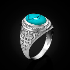 Sterling Silver Jerusalem Cross Turquoise Statement Ring
