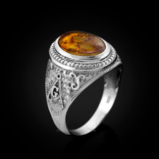 Sterling Silver Masonic Ring with Amber Cabochon