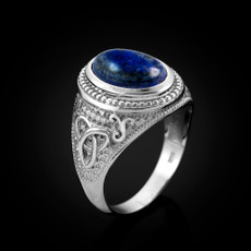 Sterling Silver Celtic Band Lapis Lazuli Gemstone Statement Ring