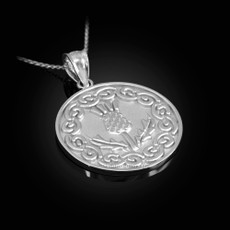 Sterling Silver Scottish Thistle Medallion Pendant Necklace