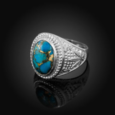 Sterling Silver Marijuana Weed Blue Copper Turquoise Statement Ring