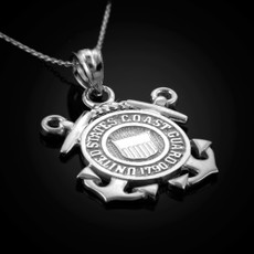 Sterling Silver US Coast Guard Pendant Necklace