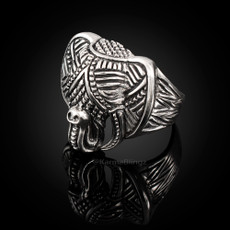 Solid Sterling Silver Ganesha Elephant Head Mens Statement Ring