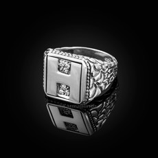 """Sterling Silver Letter """"H"""" Initial CZ Men's Ring"""