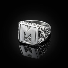 """Sterling Silver Letter """"M"""" Initial CZ Men's Ring"""