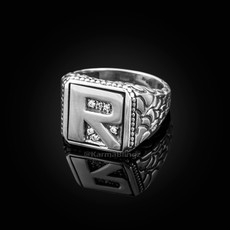 """Sterling Silver Letter """"R"""" Initial CZ Men's Ring"""