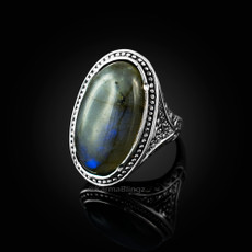 Sterling Silver Oval Labradorite Gemstone Ring