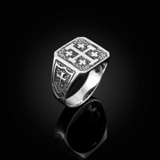 Sterling Silver Jerusalem 'Crusaders' Cross Mens Ring