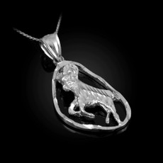 Sterling Silver Aries Zodiac Sign DC Pendant Necklace