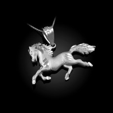 Sterling Silver Galloping Horse Satin DC Charm Necklace