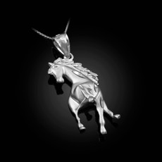 Sterling Silver Stallion Horse Satin DC Charm Necklace