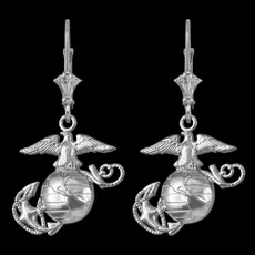 Sterling Silver US Marine Corps Leverback Earrings