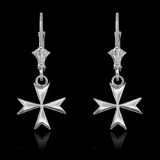 Sterling Silver Maltese Cross Earrings