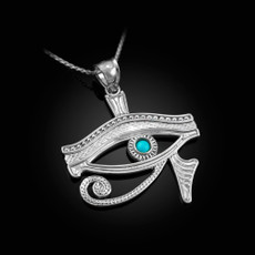 Polished Sterling Silver Eye Of Horus Turquoise Pendant Necklace
