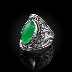 Sterling Silver Green Agate Celtic Trinity Knot Ring