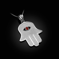 Sterling Silver Hamsa Red CZ Evil Eye Pendant Necklace